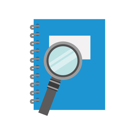 notebook school with magnifying glass vector illustration design
