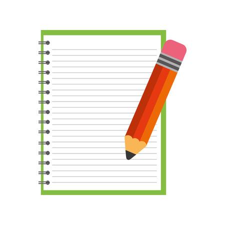 Scuola notebook con disegno di illustrazione vettoriale matita Archivio Fotografico - 83171242