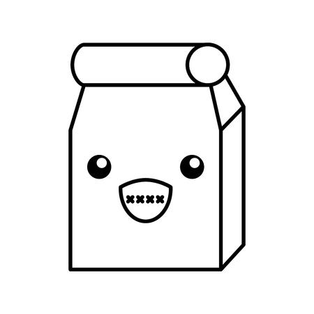 Lunch bag in paper bag kawaii character vector illustration design