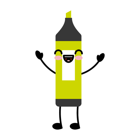 highlighter pen character vector illustration design