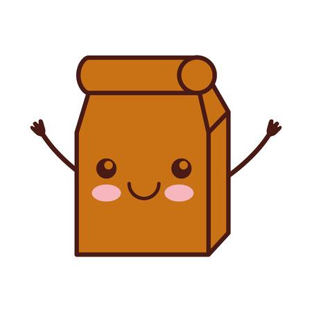 Lunch bag in paper bag character vector illustration design