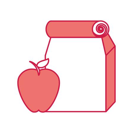 Lunch bag in paper bag with apple vector illustration design