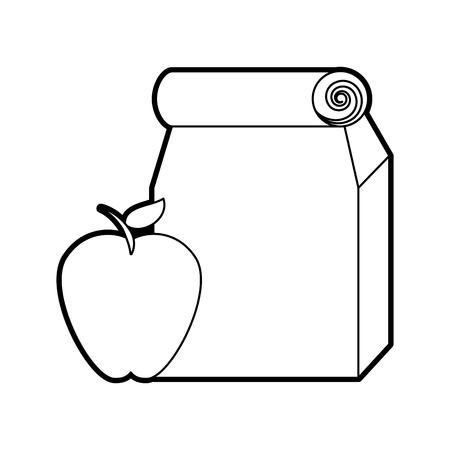사과 벡터 일러스트 디자인으로 종이 가방에 점심 가방 스톡 콘텐츠 - 83172782