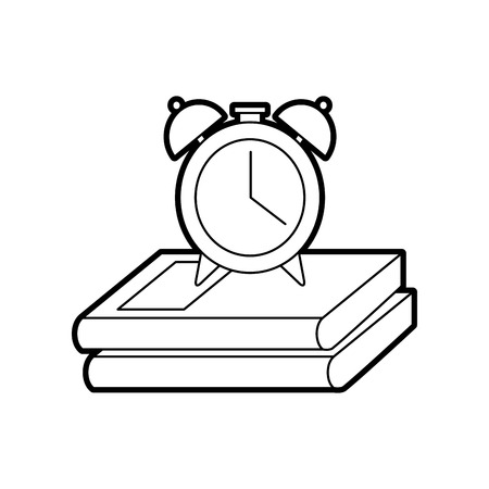 alarm clock with books vector illustration design
