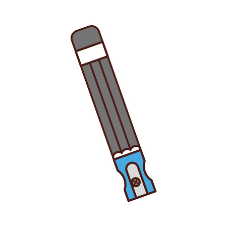 pencil school supply with sharpenner vector illustration design