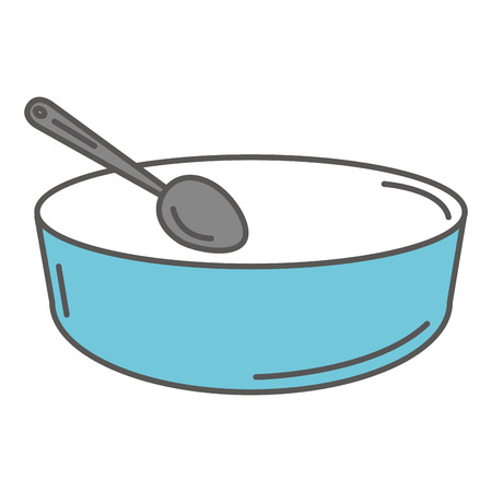 deep plate with spoon vector illustration design