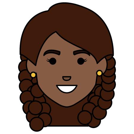 아름 다운 아프리카 머리 여자 아바타 문자 벡터 일러스트 레이 션 디자인