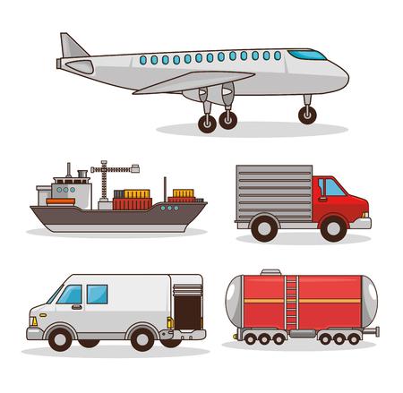 Set di mezzi di trasporto illustrazione vettoriale illustrazione grafica Vettoriali