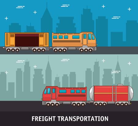 Trasporto merci e consegna logistica illustrazione vettoriale illustrazione grafica Archivio Fotografico - 83177652