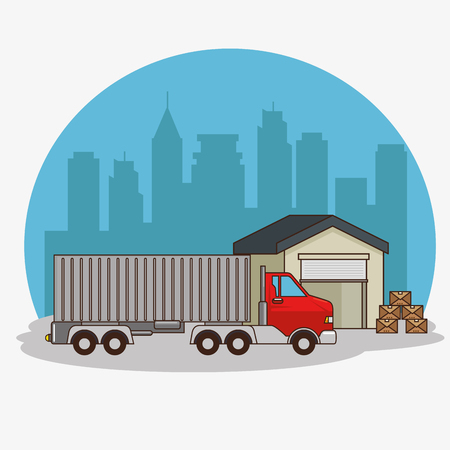 freight transportation and delivery logistic infographic vector illustration graphic design Illustration