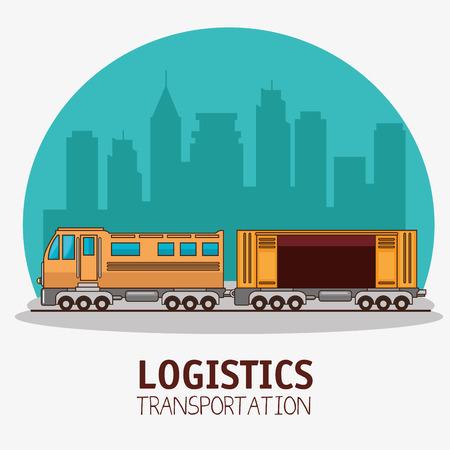 Progettazione grafica dell'illustrazione di vettore di logistica di trasporto e di consegna del trasporto Archivio Fotografico - 83179078