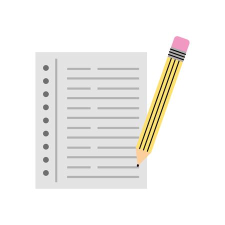 writing instruments: pencil school with notebook vector illustration design Illustration
