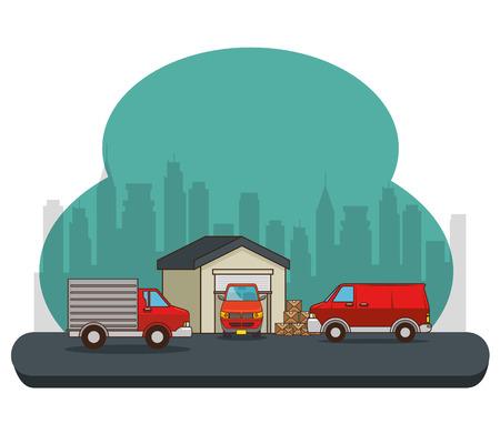 Trasporto merci e consegna logistica infographic illustrazione vettoriale illustrazione grafica Archivio Fotografico - 83179082