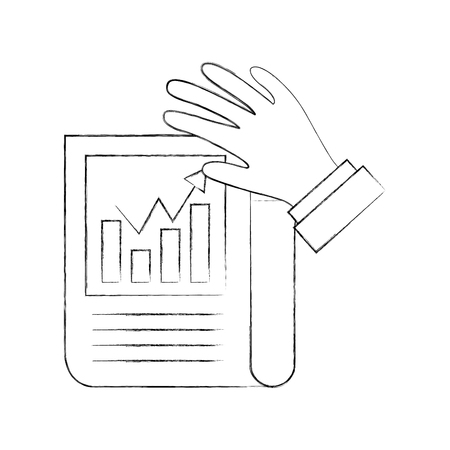 Statistical report with hand vector illustration design Çizim