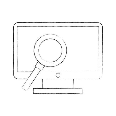 虫眼鏡ベクトル イラスト デザインとコンピューターのデスクトップ  イラスト・ベクター素材