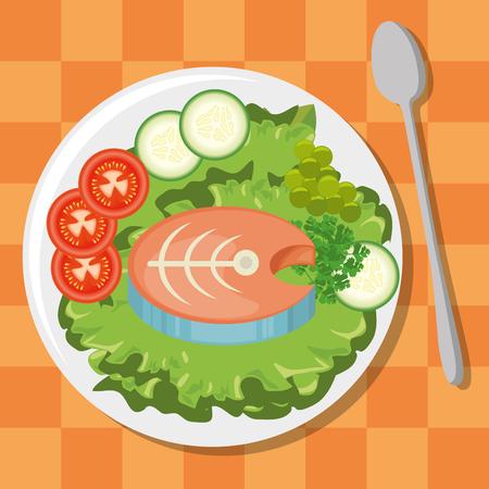 신선하고 맛있는 점심 벡터 일러스트 그래픽 디자인