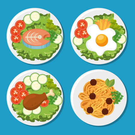 set of fresh and delicious lunch vector illustration graphic design