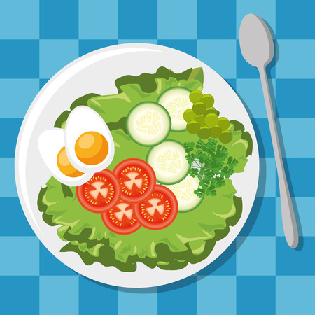 fresh and delicious lunch vector illustration graphic design Çizim