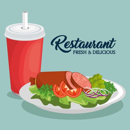 fresh and delicious lunch vector illustration graphic design Ilustração