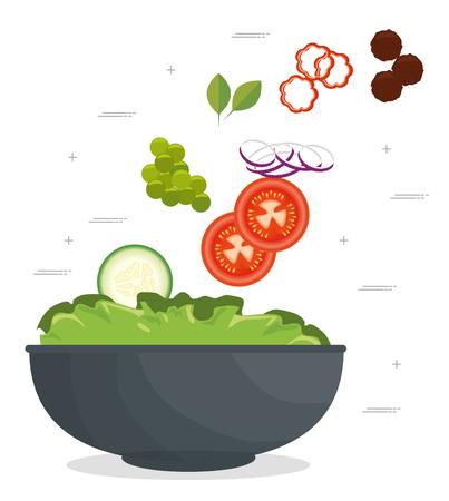 fresh healthy salad vector illustration graphic design