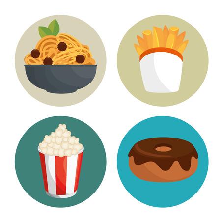 Fast-Food-Symbol Set Vektor-Illustration Grafik-Design Standard-Bild - 83177433