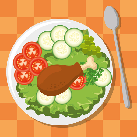 fresh and delicious lunch vector illustration graphic design Illustration
