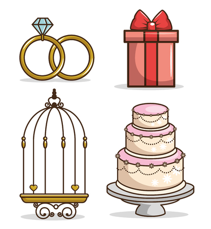 colorful wedding icon set vector illustration graphic design Illustration