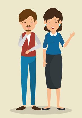 interactive business people communication vector illustration graphic design Ilustração Vetorial