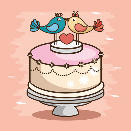 stylish wedding cake vector illustration graphic design
