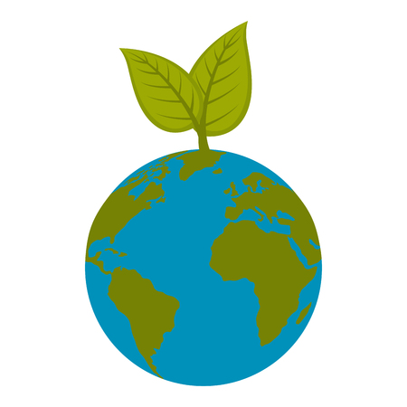 earth planet with leaves over white background icon