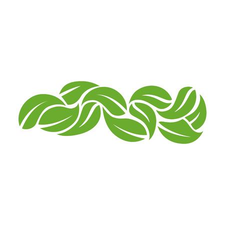 Cornice circolare decorativa con foglie su sfondo bianco icona Archivio Fotografico - 83179913