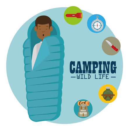 camping wild life concept vector illustration graphic design