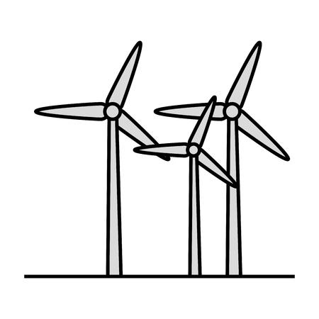 Eolic-Turbinen über weißer Hintergrundikone über weißer Hintergrundikone