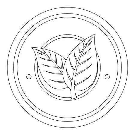 seal stamp with decorative leaves over white background icon