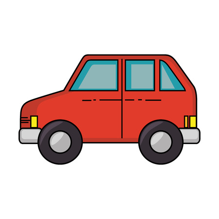 car vehicle red over white background icon Ilustracja