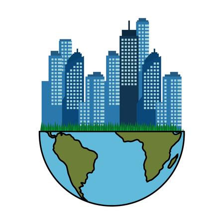 흰색 배경 위에 도시 도시 건물 아이콘