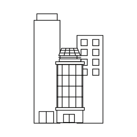 Urban city buildings over white background icon
