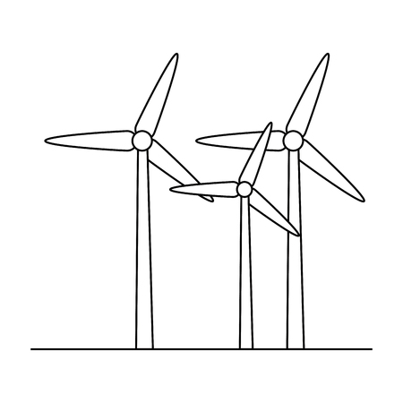 eolic turbines over white background icon over white background icon