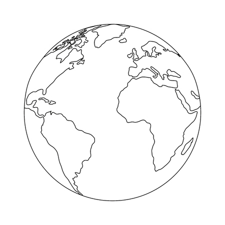 地球惑星の葉を白い背景アイコンの上