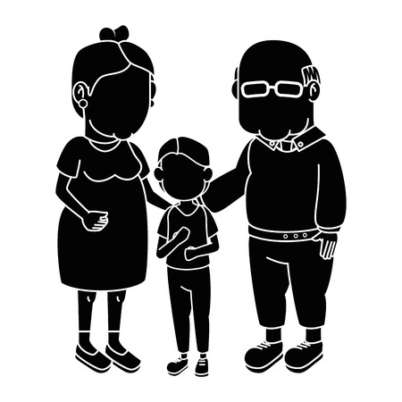 couple of grandparents and kid over white background icon Illustration