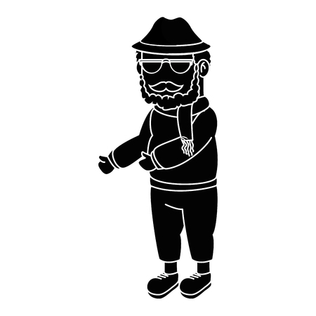 old fashioned: Grandfather faceless cartoon over white background icon