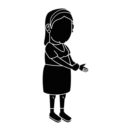 gray hair: Grandmother faceless cartoon over white background icon