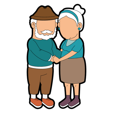 couple of grandparents over white background icon