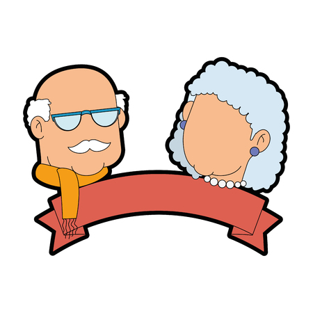 old fashioned: couple of grandparents over white background icon over white background icon