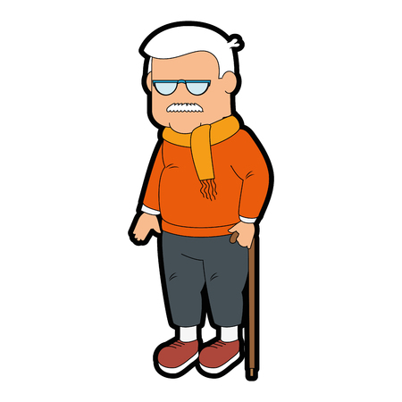 Grandfather faceless cartoon over white background icon
