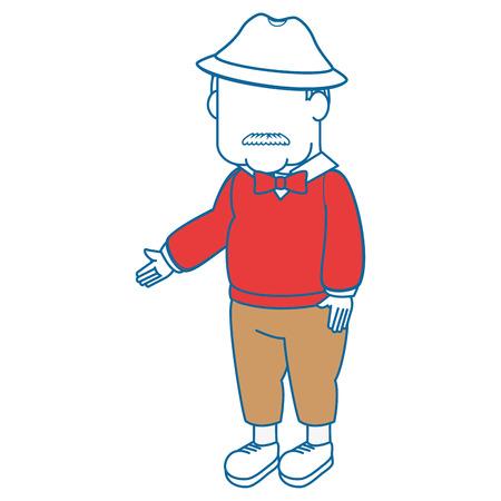 白い背景アイコンの上のアバターの祖父漫画  イラスト・ベクター素材