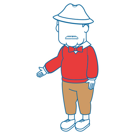 avatar grandfather cartoon over white background icon