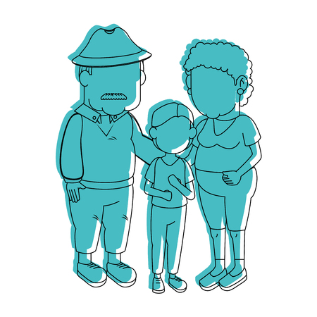 old fashioned: couple of grandparents and kid over white background icon Illustration
