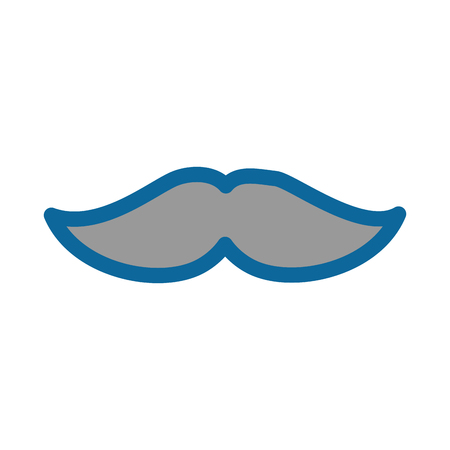 Vintage mustache isolated over white background icon Çizim