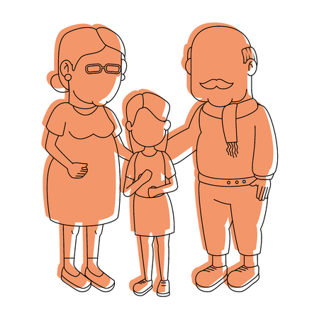 gray hair: couple of grandparents and kid over white background icon Illustration